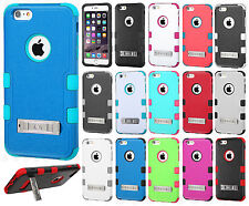 For Apple iPhone 6 6S Plus Rubber IMPACT TUFF HYBRID KICK STAND Hard Case Cover