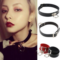 Vintage Gothic Punk Choker Collar Necklace Pendant Leather Chain Neck Ring Black