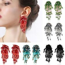 Handmade Fashion Crystal Flower Tassel Earrings Beaded Ear Stud Women Jewelry