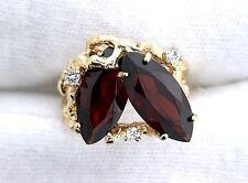 14Kt Heavy Nugget Yellow Gold Ring 15x7 Marquise Garnet Diamond Gemstone Sz 6.5