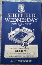 1968 SHEFFIELD WEDNESDAY v BURNLEY programme