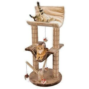 Two Story Cat Perch and Play Tree with Mouse Toys