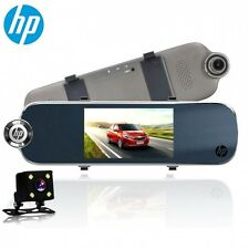 "HP F770 Car Cam 5.0""LCD 2MP Dual Front + Rear view Mirror Camera Camcorder"