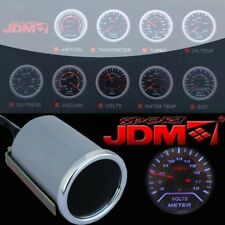 "Jdmsport Universal 2"" 52Mm Volt Voltage Meter White Led Smoke Tint Len Custom"