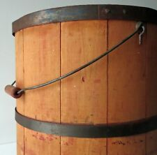 Antique  Wood Firkin with Cover & Bail Handle 13 1/2""
