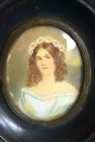 Antique Signed Miniature Lady Girl Curls Flower Portrait Painting Picture Frame