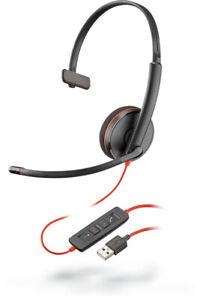 Plantronics Blackwire C3210 USB Monaural Computer Headset Headphones with mic