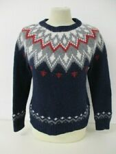 Fairisle Icelandic Sweater, Nordic Knit Jumper, Small, Navy, Grey, Red, 45cm W