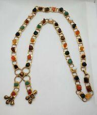Collier sautoir plaqué or et pierres semi précieuses RefN56