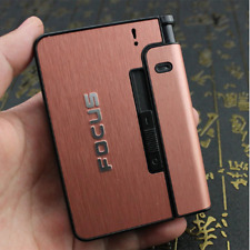 Automatic Cigarette Case 10pcs Cigarette Capacity Can Mount Lighter Metal Cigare