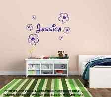 Nom personnalisé & Fleurs Mur Art Chambre Garçons Enfants Autocollant Murale Vinyle Enfant