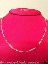 """Womens 14k Yellow Gold Necklace Flat Gucci Mariner Chain Necklace 1.5mm 16"""" inch"""