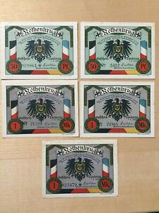 LUNDERUP: Rothenkrug, 2 x 50 Pfg. u. 3 x 1 Mark jeweils mit KN-Varianten