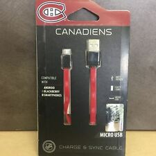 NEW, NHL Canadiens Micro USB Flat Cable Compatible w/ Androids,Blackberry, Kobo