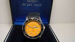 Citizen Crystron CQ 150m 4-212461 Y Orange Diver; In/Out Box, NOS Crystal, Strap
