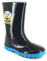 Minions Childrens Wellington Boots Boys Waterproof Wellies - Navy - Size 6-12