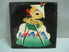 Antique wall Hand painted tile with modernist decor a chick made Lufapo Coimbra