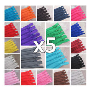 x 5 x CLOSED END No.3 NYLON ZIPS *24 COLOURS & 10 LENGTHS* ZIPPER SEWING 5 ZIPS