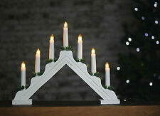 Wooden 7 LED Candle Bridge Traditional Christmas Decoration Arch Light Up Window