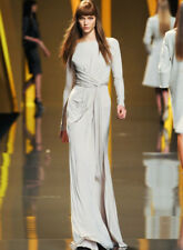 ELIE SAAB Pale Grey Long Sleeve Cross Front Dress Gown 6  8
