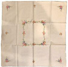 Vintage Italian Embroidered Linen Tablecloth W/6 Napkins unused! (Espresso)