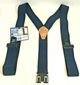 New Big and Tall Perry Suspenders Men's Leather Dress Hook End Suspenders Navy