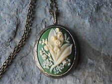 LILY OF THE VALLEY CAMEO LOCKET - ANTIQUE BRONZE, VINTAGE LOOK, QUALITY