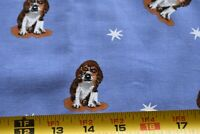 By 1/2 Yd, Cute Dog & Stars on Blue Softer-Cotton Quilt Fabric, N4663