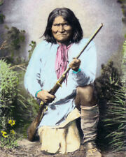 "GERONIMO NATIVE AMERICAN INDIAN APACHE 1886 8x10"" HAND COLOR TINTED PHOTOGRAPH"