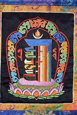 Embroidered Tibetan Khalachakra on black silk from Nepal with yellow & blue silk