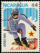 """NICARAGUA 1323 (Mi2476) - Sarajevo Olympics """"Alpine Skiing"""" (pf6082)"""