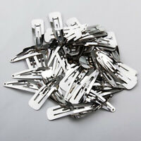 50 pcs/lot Silver Metal Snap Prong Hair Clips For Hair Bow 50 Craft 40 mm V8E2