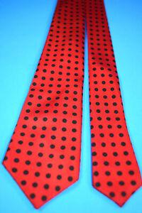 """VTG 50s 60s Rayon or Silk Polka Dot Skinny Neck Tie 54.75"""" x 2 3/8"""" Red Black"""