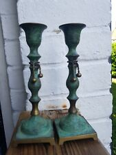 Vintage Bronze/Brass Made in India Pair of Candle Holders/ Home Decoration