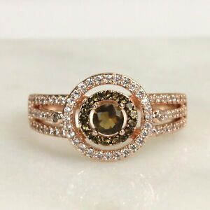 Round Cut Chocolate CZ Rose Gold Halo Engagement Ring Promise Ring1040
