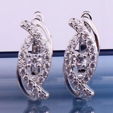 18K White Gold Filled - Clear Zircon Hollow Oval Eyes Cocktail Ladies Earrings