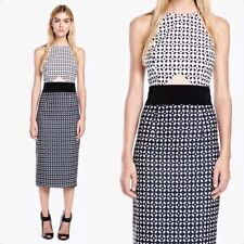 Minty Meets Munt Dress M Monochrome Black White Print Midi Pencil Cut Out