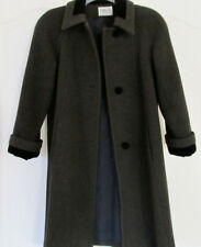 Cathy-Jo 100% Pure Wool Olive Green Black Velvet Knee Length Winter Coat Women S