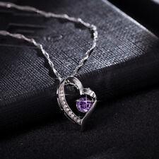 HERZKETTE Damenkette Damen Kette Herz Liebe Lila Valentinstag Strass Silber NEU
