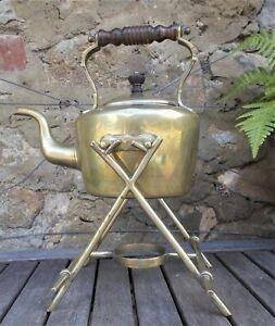 Antique BRASS SPIRIT KETTLE ON STAND,