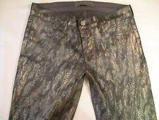 J Brand Jeans Leggings Low Super Skinny Gray Golden Snake Reptile Sz 27  NEW !