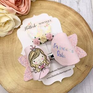 Personalised glitter Princess Hair Bow Clip made to order, Pink Bow,Toddler Hair