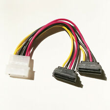 "6"" Inch Molex LP4 to Dual 15-pin SATA 270° Right Angle Power Y Cable - Down Type"