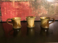 Set of 3 Ceramic Studio Pottery Coffee Mugs Signed by Unrecognized Artist