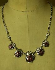 Hall marked Egyptian Pharaoh Silver Necklace Collar , 800 ,Scarab with Coral