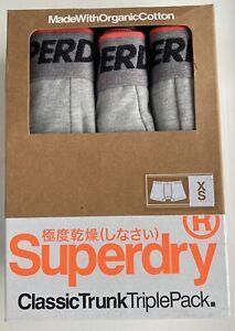 Superdry Classic XS Trunk TriplePack Organic Cotton In Grey Marl BNIB