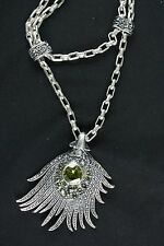 Peridot Pendant With Chain Sterling Silver .925  Elegant