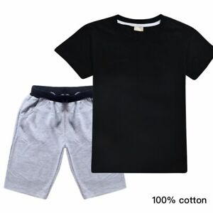 Boys Girls Summer Casual Suit 100% Cotton Top T-shirt+ Gray Shorts Set Tracksuit