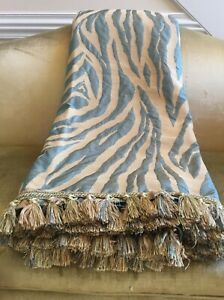Teal and gold zebra print throw/coverlet