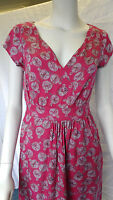 WHITE STUFF tea dress V neck mock wrap dress pink grey lined RRP £45 UK 8-18